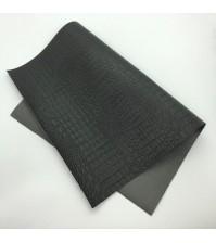 Кожзам с тиснением под крокодила, цвет черный, арт. 411555