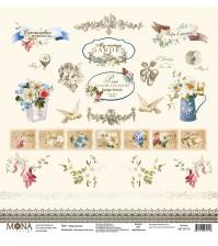 Односторонний лист Карточки, коллекция Французский сад, MD30713