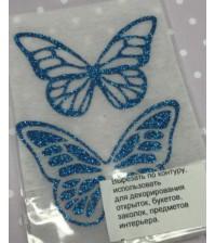 Декоративные элементы Бабочки, цвет синий на белом, B-001