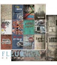 Лист бумаги для скрапбукинга Карточки, коллекция Город контрастов, 30,5х30,5 см,  FD1007906