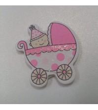 Декоративная пуговка Колясочка в горошек 2, цвет розовый, арт.  KA105568