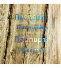 Надпись из термотрансферной пленки Паспорт, цвет серебро, SC102020