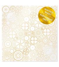 Ацетатный лист с фольгированием Golden Gears 30,5х30,5 см, арт. FDFMA-1-037