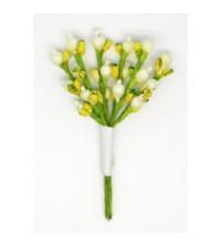 Декоративный букетик Весенний желтый с белым, DKB112