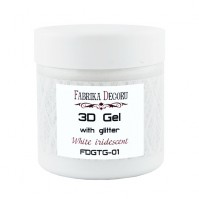 3D gel с глиттером White iridescent, арт. FDTPG-01